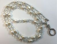 Freshwater Pearl Lanyard, White Pearl Badge ID Holder, Breakaway Opt.