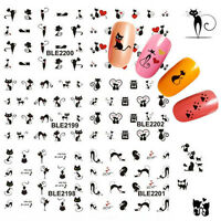 Cute Nail Art Sticker Black Cat Water Transfer Stickers Decal Tips Decoration US