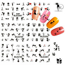 Cute Nail Art Sticker Black Cat Water Transfer Stickers Decals Tips Decoration