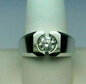 Engagement & Wedding Modern Solitaire Men's Ring 14K White Gold 1.31 Ct Diamond