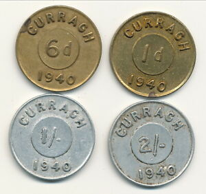 USA WWII Curragh Ireland Internment Camp Tokens 1d,6d, 1/-, and 2/- 1940