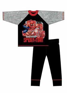 Kids Spiderman Pyjamas Pjs (Black & Grey) Boys Cotton Size 4-10 Years