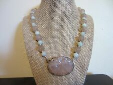 RARE Antique Chinese Royal Shou Carved Rose Quartz Jade Sterling Silver Necklace