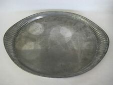 """Large and Heavy Universal Pewter 95% Tin Oval Serving Tray, 18 3/4"""" X 13 3/4"""""""