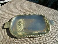 Vintage Brass Serving Tray - with Handles- Braid Design Edge