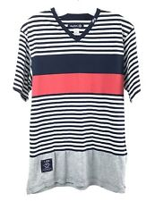 Lifted Research Group Mens Short Sleeve Tee Size Small Striped V Neck LRG