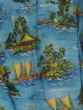 Mens Made in Hawaii Hawaiian Camp Shirt Royal Creations XL Outriggers Palm Trees