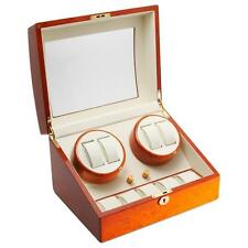 Watch Winder Diplomat Cherry 4 Watch Winder with Off-White Leather Interior
