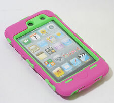 Deluxe Pink On Green Body Armor 3-Piece Hard Case For Ipod Touch 4 4th 4G Gen
