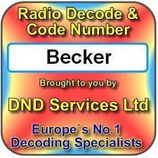 Radio Becker code decode déverrouillage par numéro de série