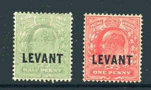 1905 British Levant First two from the set ½d & 1d SG L1 & L2 m mint cat £22.50