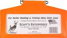 "Hunting License Holder Scaff's 13 FV 9.75"" x 5.25"" Blaze Orange Brand New USA WI"
