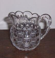 Vintage Pattern Glass Creamer - EAPG Bryce, Higbee Cut Log aka Cat's Eye & Block