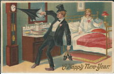 BB-111 A Happy New Year, Man Trying to Hold Back Clock, 1907-1915 Postcard
