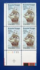 Sc # 2093 ~ Plate # Block ~ 20 cent Roanoke Voyages Issue (cc12)