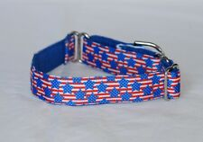 """1"""" Small (whippet) Martingale Dog Collar Blue Stars Red & White Stripes - Ribbon"""