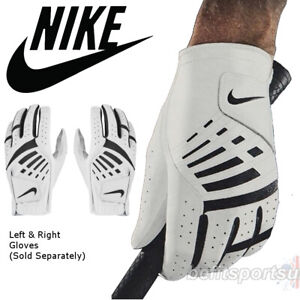 NIKE GOLF LEFT RIGHT GLOVE MENS DURA FEEL BOWLING STRETCH SYN LEATHER WHITE