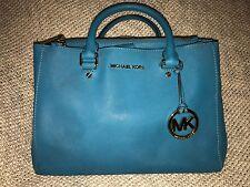 Michael Kors MK Saffiano Leather Sutton Handbag Tile Blue Satchel