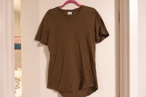 Zara Man Short Sleeve Long Length Shirt Size L Olive Green