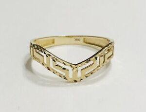 10K Yellow Gold V-Shape Filigree Greek Key Ring Size 8