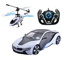 1:14 Rastar Speed Twins BMW i8 Car & Helicopter Combo Radio Remote Control Car