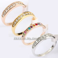 A1-R111 Fashion Engagement Wedding Band Ring 18KGP CZ Crystal Size 5.5-10