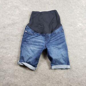 Isabel Maternity Shorts Womens 6 Blue Stretch Bermuda Pockets Medium Wash Ladies