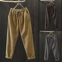 ZANZEA Femme Harem Pants Casual Couleur Unie Taille elastique Pantalon Plus