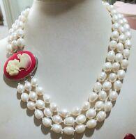 """NEUE 3-reihige rote Schließe 9-11 MM natürliche weiße Akoya-Perlenkette 18-20 """""""