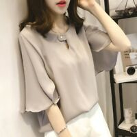 Summer New Womens Chiffon T Shirt Bell Sleeve Casual Loose Plus Size Blouse Tops