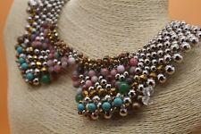 Necklace Collar Designer Jewelry Silver Pam Hiran Anthropologie Beaded Statement
