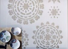 "Reusable Painting Stencil Floral Craft Template DIY Wall Fabric Plate Art 8""x9"""