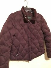 Womens Eddie Bauer Goose Down Puffer Quilted Jacket Coat Size Large Plum Color