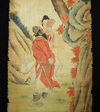 Scène galante Japon cachet c1900 grande peinture Japan roll paint H:125 cm