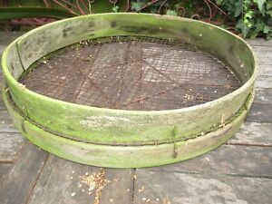 Large Vintage Soil Sieve Riddle bent wood metal mesh - Garden - potato -display
