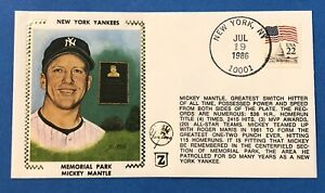 Mickey Mantle New York Yankees Memorial Park 1986 Z Silk Cachet First Day