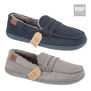 Mens Warm Moccasin Slippers Comfy Fur Lined Indoor Shoe Slip On   UK Size 7-12