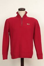 MENS XL NAPAPIJRI GEOGRAPHIC RED MERINO WOOL 1/4 1/2 ZIP PULLOVER KNIT SWEATER