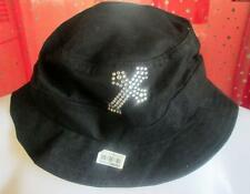 SHABBY CUSTOM DIY RHINESTONE CHRISTIAN SMALL CROSS HAT BEACH COTTON BLACK
