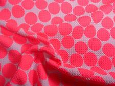 Bullet Printed Liverpool Textured Stretch White Big Neon Pink Polka Dot N31