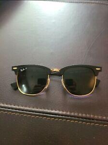 Ray-Ban Clubmaster Aluminum - Black Frame Green Polarized Sunglasses