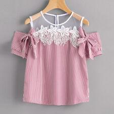 2017 Women Off Shoulder Lace Blouse Tops Summer Short Sleeve Loose Striped Shirt