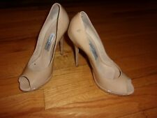 Worn Used Jimmy Choo Beige Nude Open Toe Peeptoe Stiletto High Heels Size 7
