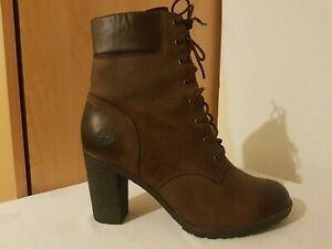 Timberland Eaethkeepers Womens Glancy Brown Leather 8432A Heels Boots Size 7.5