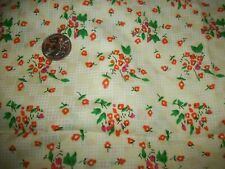 Yellow with Orange & Pink Flowers & White Fencing cotton Fabric, 28 in. 42 wide