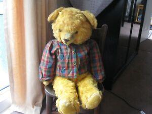 old teddy bear - German funfair bear - golden art silk plush