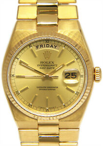 Rolex Day-Date Oysterquartz President 18k Yellow Gold Champagne Mens Watch 19018