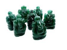 Hand Carved Ganesh Green Jade Lord Ganesha Mini Statue Car Office Table Altar