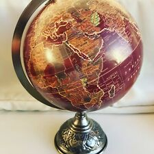 Globe Iron Base Atlas Table Desk Ornament Vintage Antique Style World Map Red