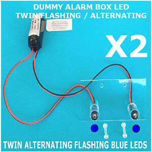 Twin Flash Switched Dummy Alarm LED BLUE Bracket 10 Yr Battery FM4 TWIN PACK
